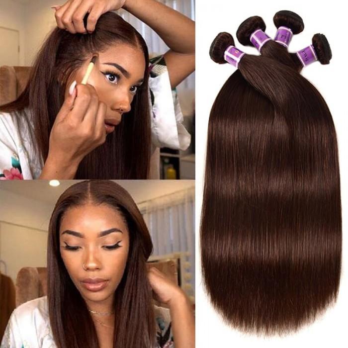 Incolorwig Virgin Peruvian Straight #2 Dark Brown 4 Bundles Human Hair Weave