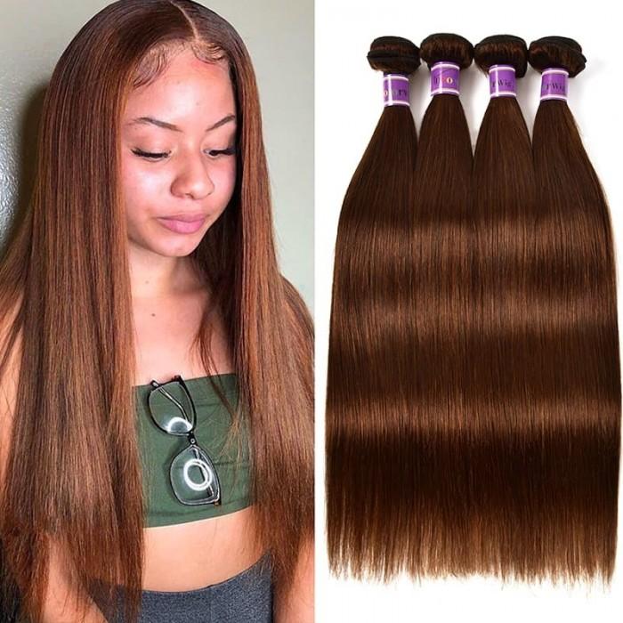 Incolorwig 4 Bundles Peruvian Hair #4 Medium Brown Straight Wave Hair Human Hair Weave