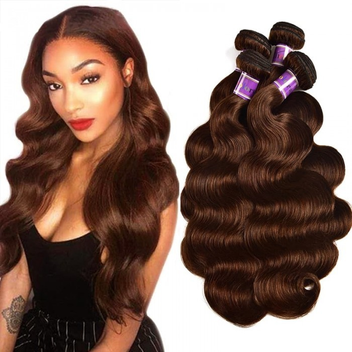 Incolorwig Virgin Brazilian Human Hair Weave Pre-colored #4 Medium Brown Body Wave 4 Bundles