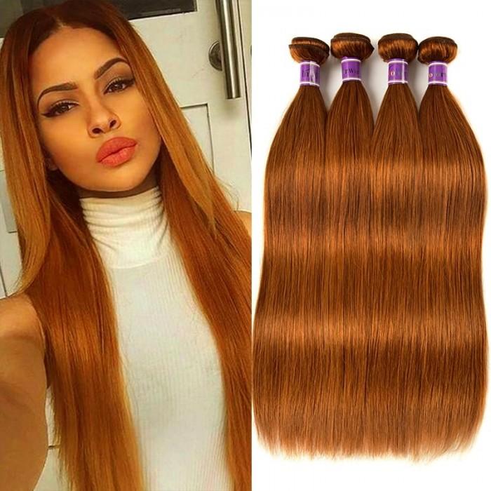 Incolorwig Virgin #30 Dark Brown Straight Peruvian 4 Bundles Human Hair Weave