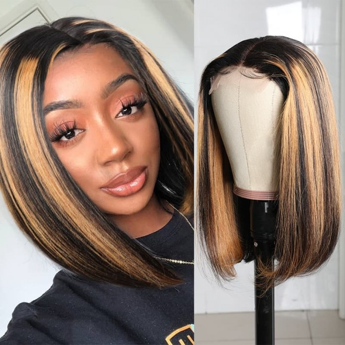 Incolorwig Ombre Highlight Piano Color Short Bob Wigs Pre-plucked #TP1B30 T Part Wig 150% Density