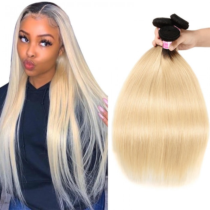 Incolorwig Selected Brazilian Human Hair Weave 3 Bundles #T1B613 Ombre Blonde Straight Hair