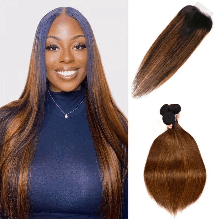 Incolorwig 3 Bundles Brown Highlights Straight Human Hair With Lace Closure Free Part