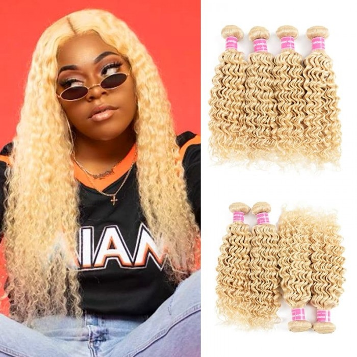 Incolorwig Brazilian Hot #613 Blonde Deep Wave Human Hair 4 Bundles Deals