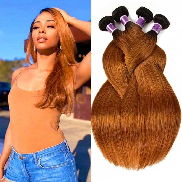 Incolorwig Quality Peruvian Human Hair 4 Bundles Deals  #TB30 Color Stragiht Human Hair Weave