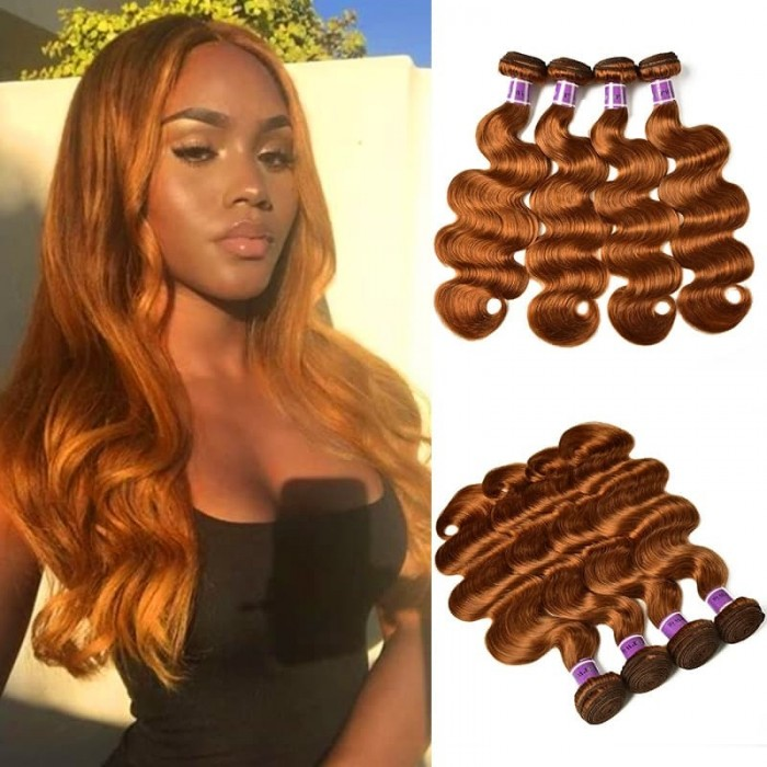 Incolorwig Virgin Peruvian #30 Dark Brown Body Wave 4 Bundles Human Hair Weave