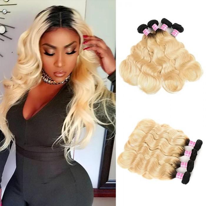 Incolorwig Quality Peruvian Human Hair #T1B613 Ombre Blonde Body Wave 4 Bundles Deals