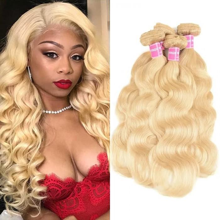 Incolorwig New Brazilian Hair #613 Blonde Body Wave Human Hair Weave 4 Bundles Deals