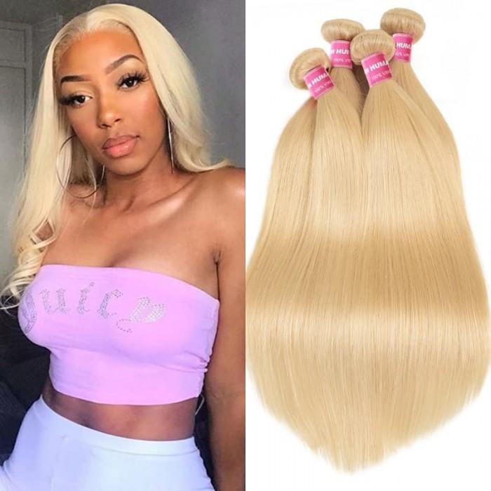 Incolorwig Salable Color #613 Blonde Straight Brazilian Hair 4 Bundles Deals Human Hair Weave