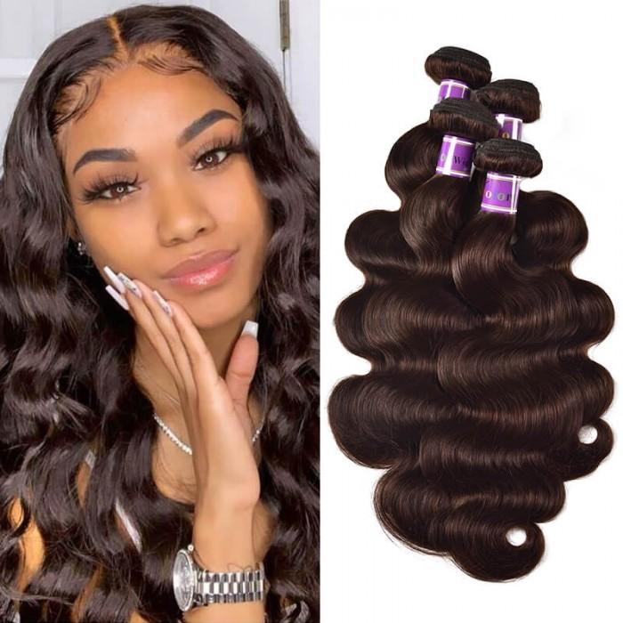 Incolorwig Virgin #2 Dark Brown Brazilian Body Wave 4 Bundles Human Hair Weave