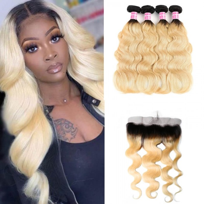 Incolorwig Peruvian #T1B613 Ombre Color Body Wave 4 Bundles Hair With 13*4 Free Part Lace Frontal