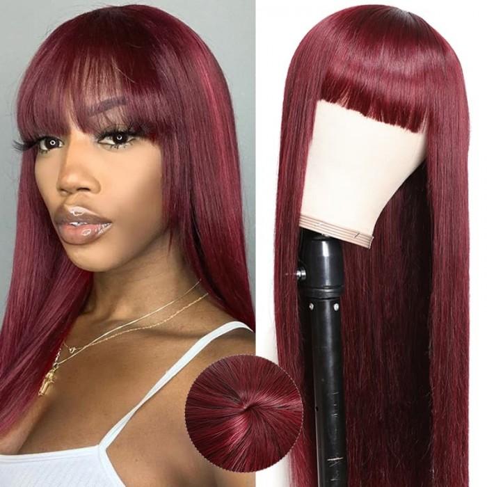 Incolorwig 99J Silk Straight Hair Wigs with Bangs Glueless capless Wigs for Women 99j Human Hair Wig