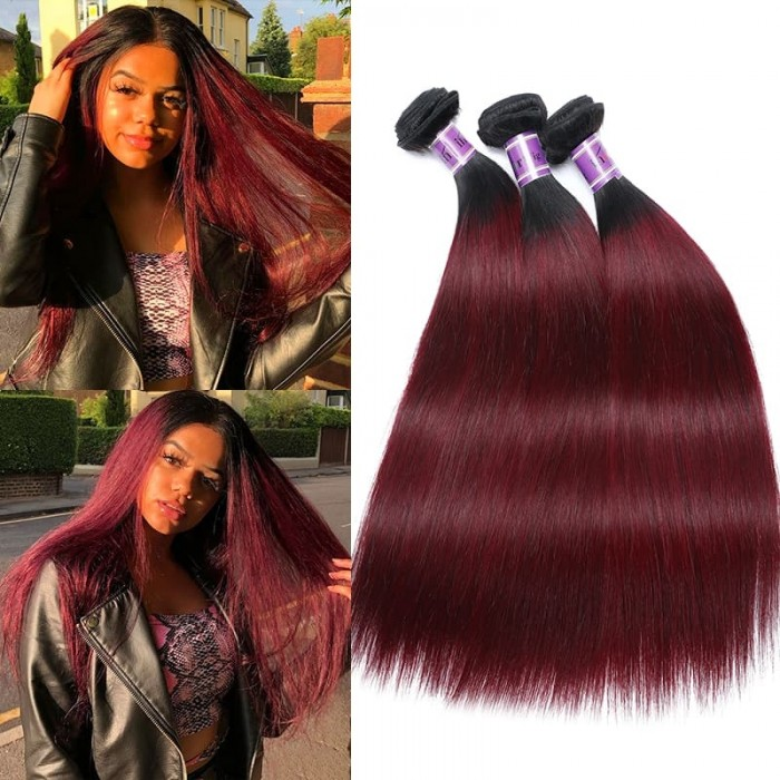 Incolorwig Virgin Brazilian 3 Bundles Human Hair New Pre-Colored  #TB99J Straight Remy Human Hair Weave
