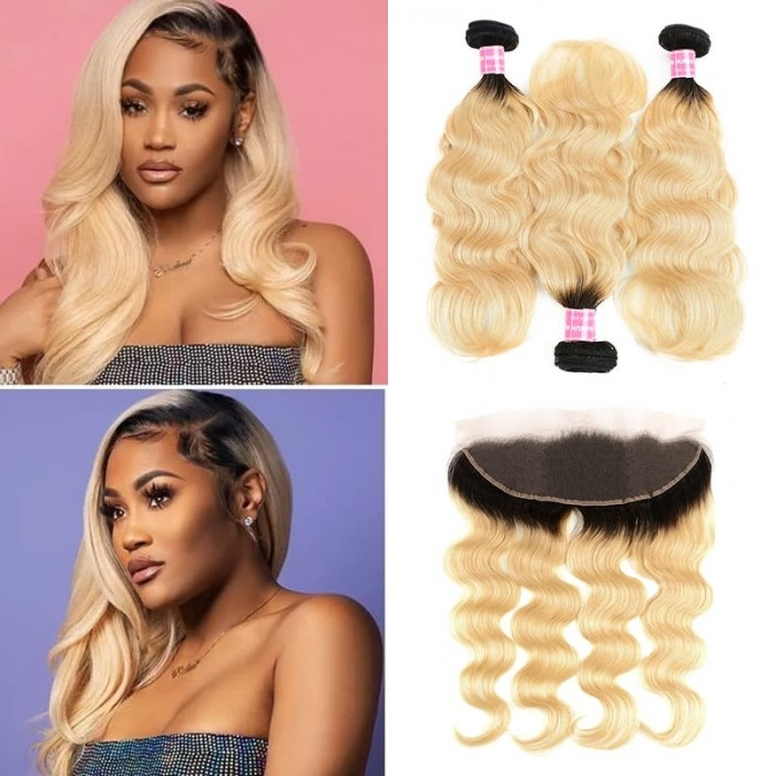 Incolorwig Hand-Picked Brazilian Hair 3 Bundles With 13*4 Free Part Lace Frontal #T1B613 Body Wave Hair Combination