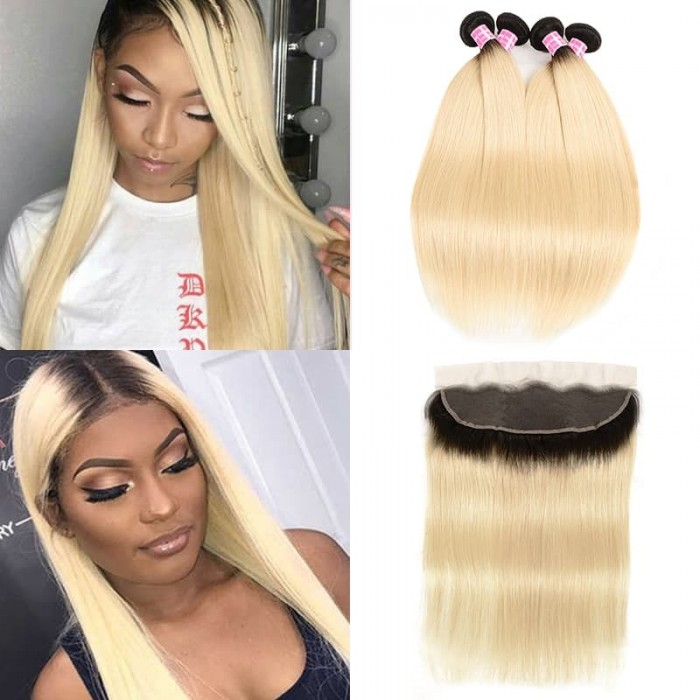 Incolorwig #T1B613 Ombre Color Staight Brazilian 4 Bundles Hair With 13*4 Free Part Lace Frontal
