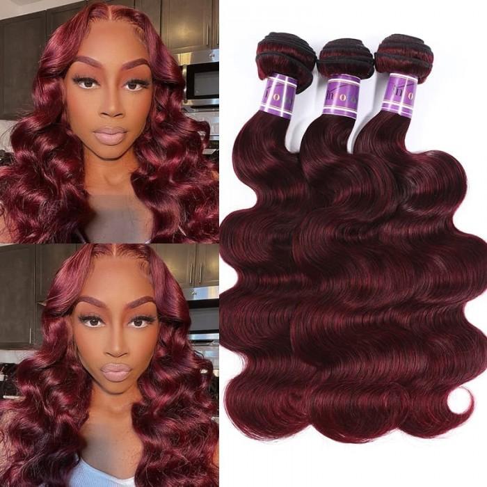 Incolorwig #99J Human Hair Weave Body Wave Brazilian Human Hair 3 Bundles Deals
