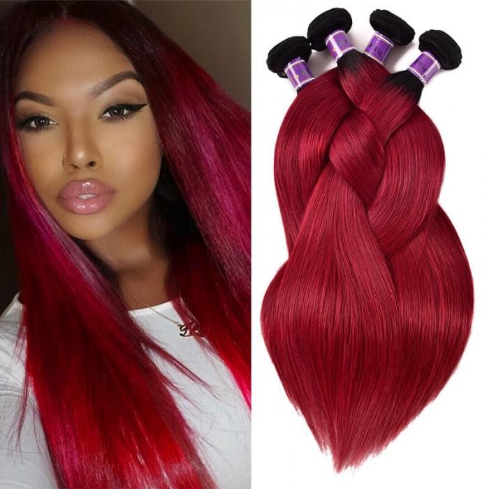 Incolorwig Peruvian Human Hair Weave #TB Burgundy 4 Bundles Straight Human Hair Weave