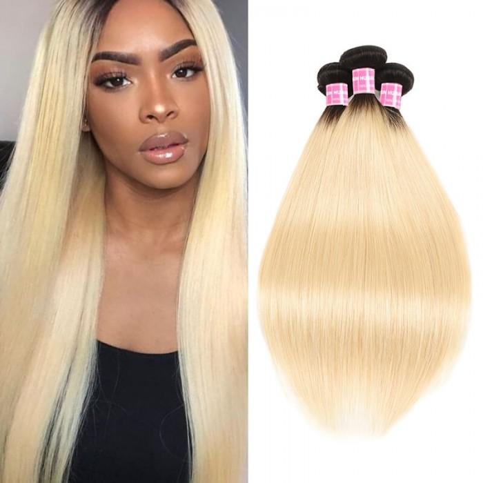 Incolorwig Hand-picked Peruvian Virgin Straight Hair Weave 3 Bundles #T1B613 Ombre Blonde Human Hair Weave