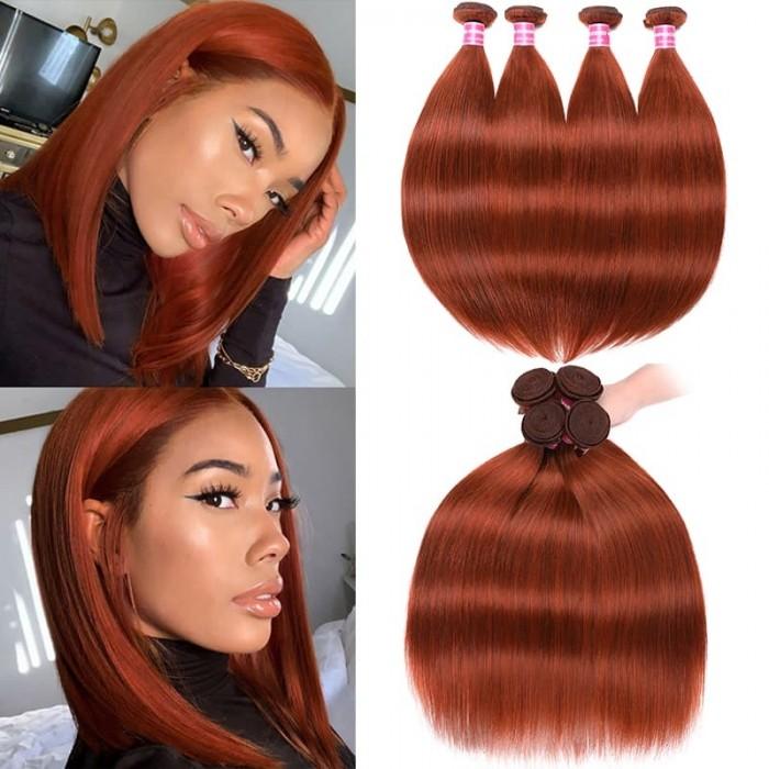 Incolorwig Brazilian Human Hair 4 Bundles High Quality #350 Ginger Hair Color Straight Weave