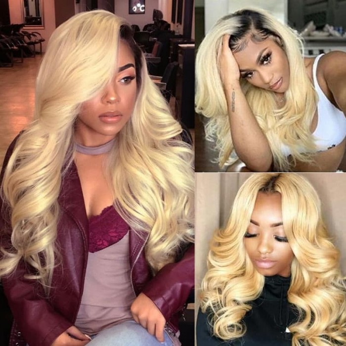 Incolorwig Indian Human Hair Combination #T1B613 Ombre Blonde Body Wave Hair 3 Bundles Deals With 4*4 Lace Closure