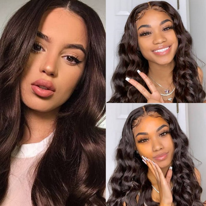 Incolorwig #2 Dark Brown Attractive 3 Bundles Body Wave Peruvian Human Hair Weave