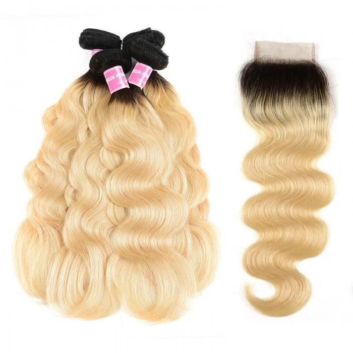 Incolorwig Malaysian New Arrival #T1B613 Ombre Color Body Wave 4 Bundles Hair With 4*4 Free Part Lace Closure