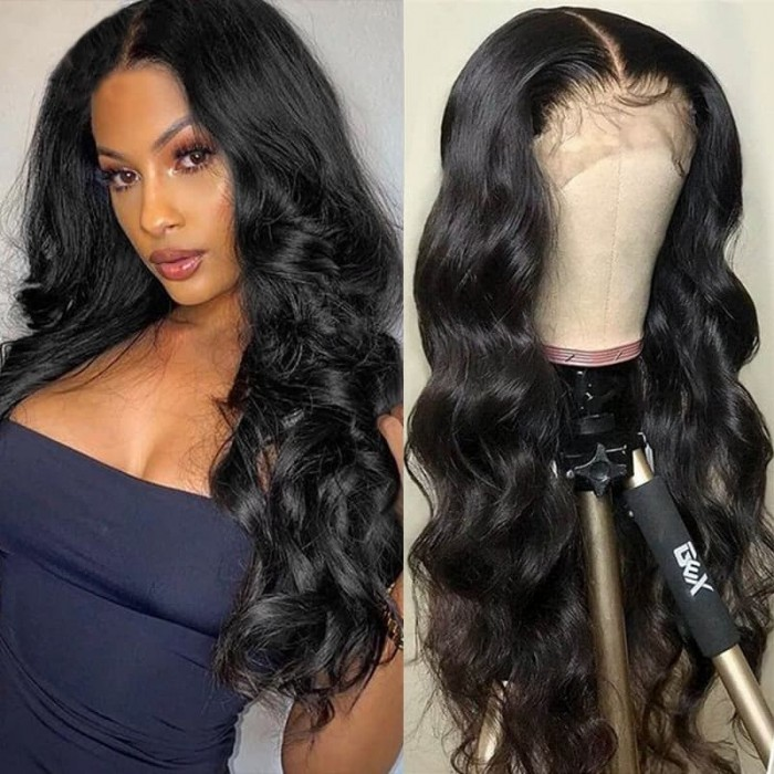 Incolorwig Body Wave Wigs 13*4 Pre-plucked Lace Front Human Hair Wig 150% Density Natural Black