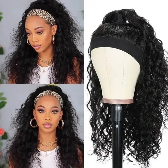 Incolorwig 150% Density Water Wave Human Hair Wig Machine Made Headband Wig No Glowing Down