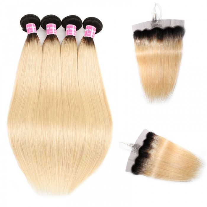 Incolorwig #T1B613 Ombre Color Staight Malaysian 4 Bundles Hair With 13*4 Free Part Lace Frontal