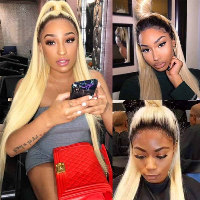 Incolorwig New Arrival Combination #T1B613 Ombre Blonde Straight Hair 3 Bundles With 4*4 Lace Closure
