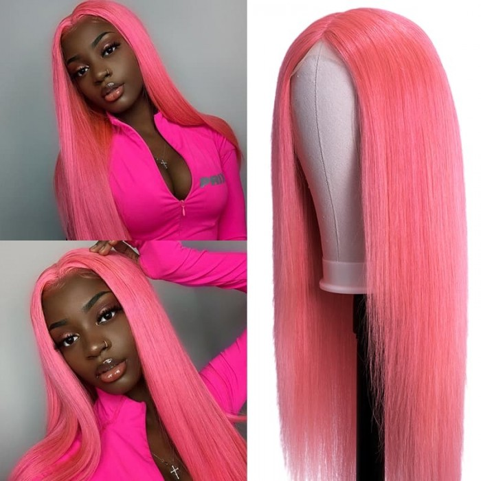 Incolorwig Barbie Pink Straight Hair Wig Hairline Lace Part Wig 150% Density Lace Pre-plucked Middle-part Wig for Women