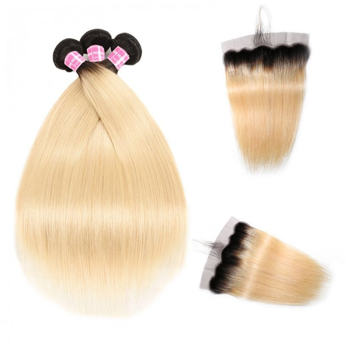 Incolorwig Malaysian Human Hair T1B613 Ombre Straight Peruvian 3 Bundles Deals With 13*4 Free Part Lace Frontal