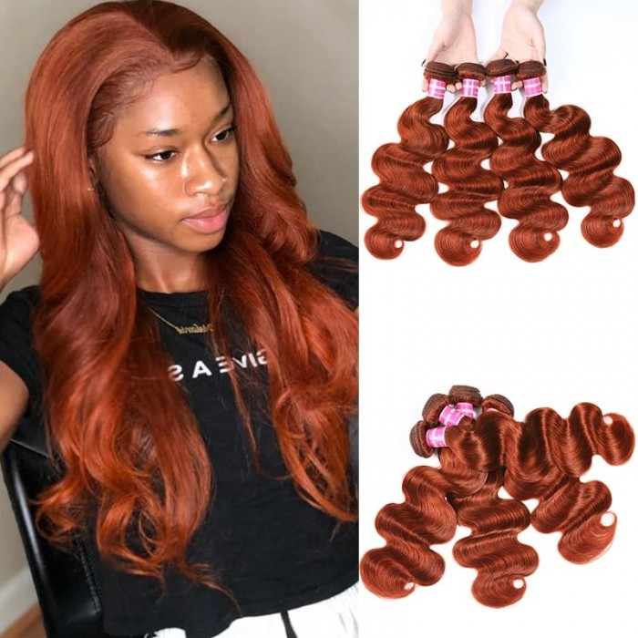 Incolorwig 100% Peruvian Human Hair Pre-colored #350 Color Ginger Weave Body Wave 4 Bundles Weave