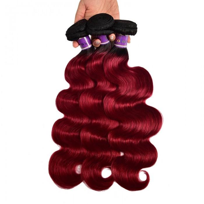 Incolorwig High Quality #TB Burgundy Body Wave Human Hair Weaves 3 Bundles Virgin Peruvian Human Hair