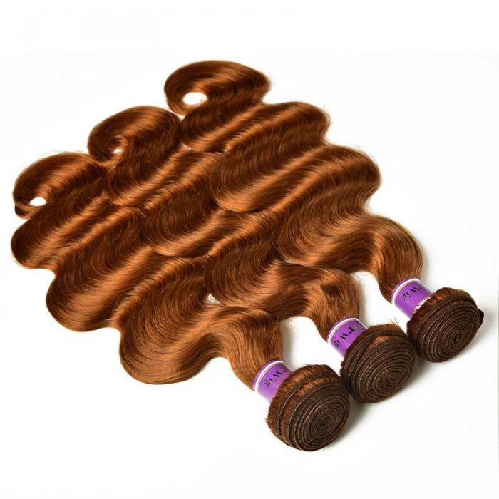 Incolorwig #30 Pure Color Body Wave 3 Bundles  Peruvian Virgin Human Hair Weave