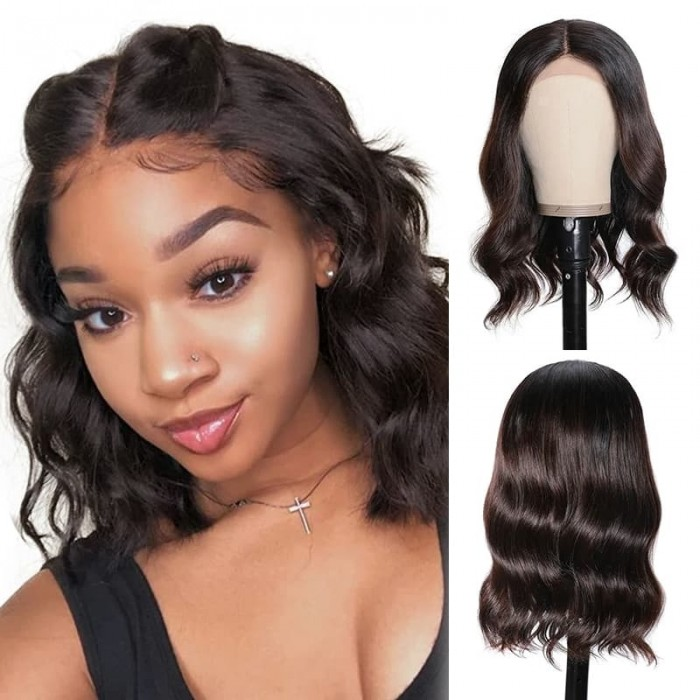 Incolorwig #T1B/4 Color Wigs 150% Density BOB Natural Wave Wigs Hairline Lace Part Wig