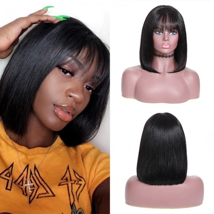 Incolorwig New Straight Bob Wig 13*4 Lace Frontal Human Hair Wig With Bangs