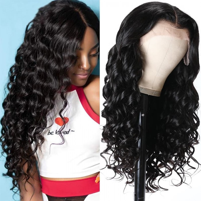 Incolorwig Loose Wave Long Wig Natural Black 13x4 Lace Front Wig Pre Plucked With Baby Hair For Women