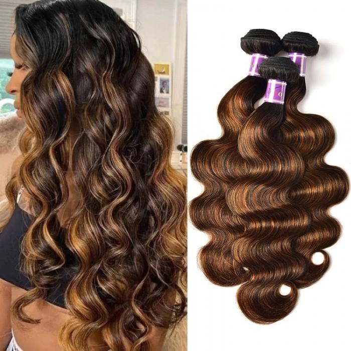 Incolorwig Superior Peruvian Human Hair Weave 3 Bundles  #FB30 Body Wave Hair