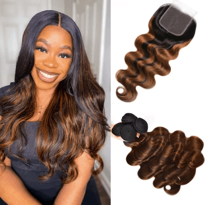 Incolorwig Brown Balayage Color Highlight Body Wave Human Hair 4 Bundles With 4x4 Lace Closure