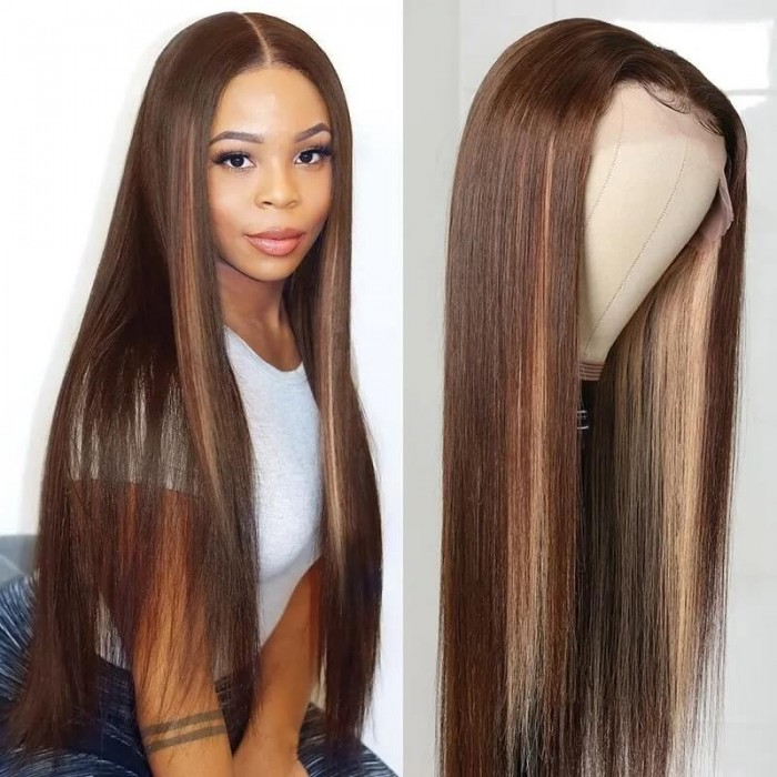 Incolorwig Fashion Highlight Wig Pre-plucked 13*4 Lace Front Wig D427 Straight Hair Wig