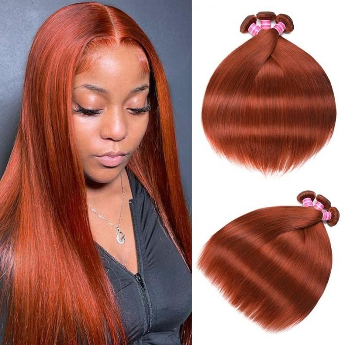 Incolorwig High Quality Brazilian 3 Bundles #350 Ginger Weave Straight Human Hair