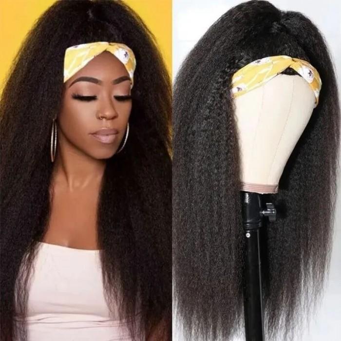 Incolorwig Kinky Straight Human Hair Half Wigs Glueless 3/4 Half Wigs 150% Density Wigs