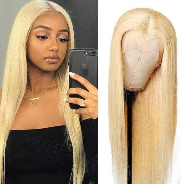 Incolorwig 613 Blonde Wig Straight Human Hair 150% Density Pre Plucked 13x6 Deep Part Blonde Lace Front Wigs