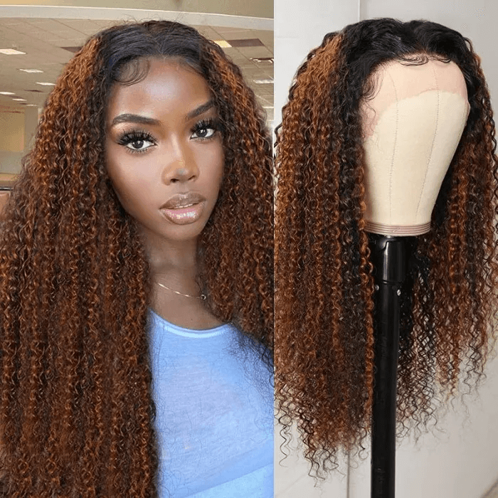 Incolorwig Balayage Highlights 13*4 Lace Front Jerry Curly Wig Fashion Chocolate Brown #FB30 Wig