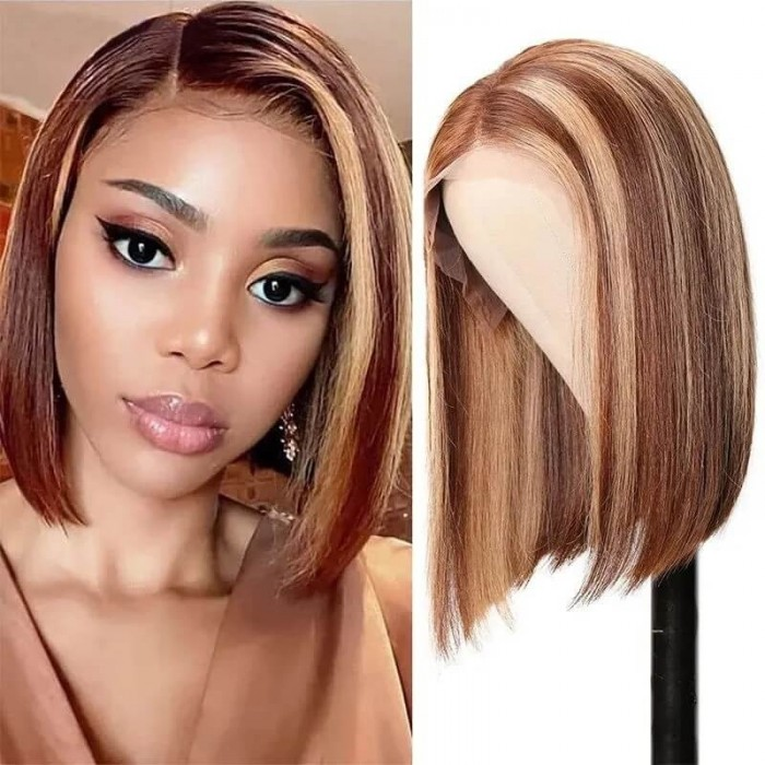 Incolorwig 13x4 Highlight Straight Bob Lace Front Human Hair Wigs 150% Density Ombre Color Pre Plucked With Baby Hair Lace Frontal Wigs For Black Women