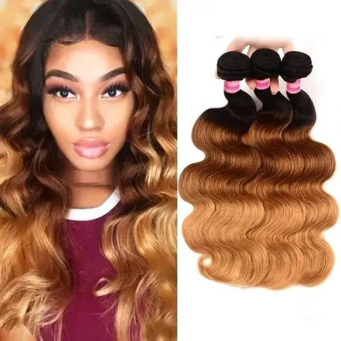 Incolorwig Virgin Peruvian Human Body Wave Hair Weave  #T1B427 Ombre Human Hair Weave 3 Bundles