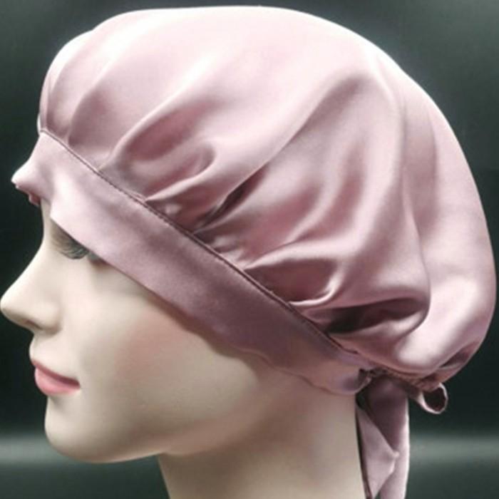 Incolorwig Soft Night Cap Sleeping Hat For Making Wigs Nightcap Adjustable Satin Pink Night Cap