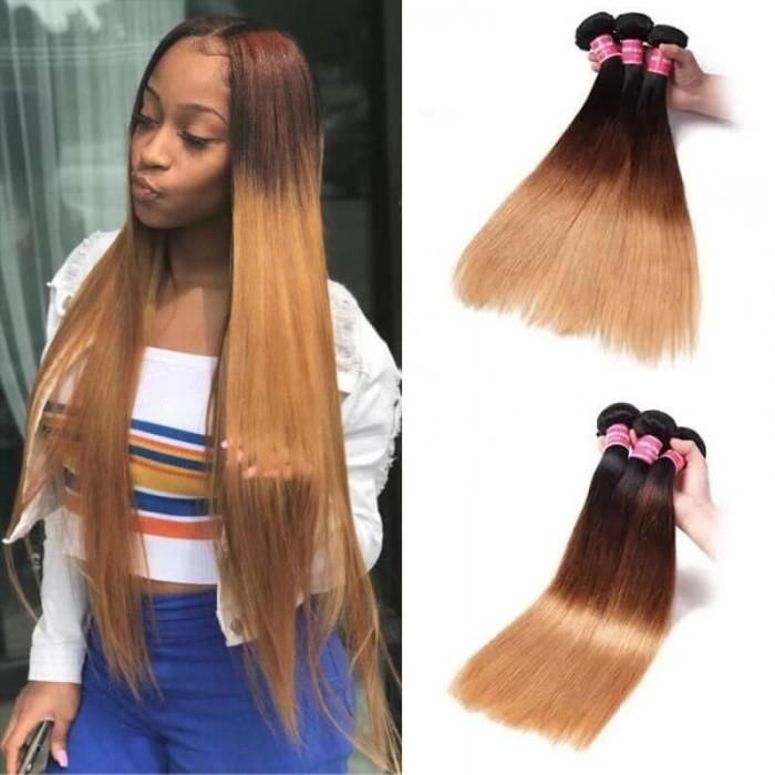 Incolorwig Novel Peruvian Virgin Straight Hair Weave  #T1B427 Ombre Human Hair Weave 3 Bundles