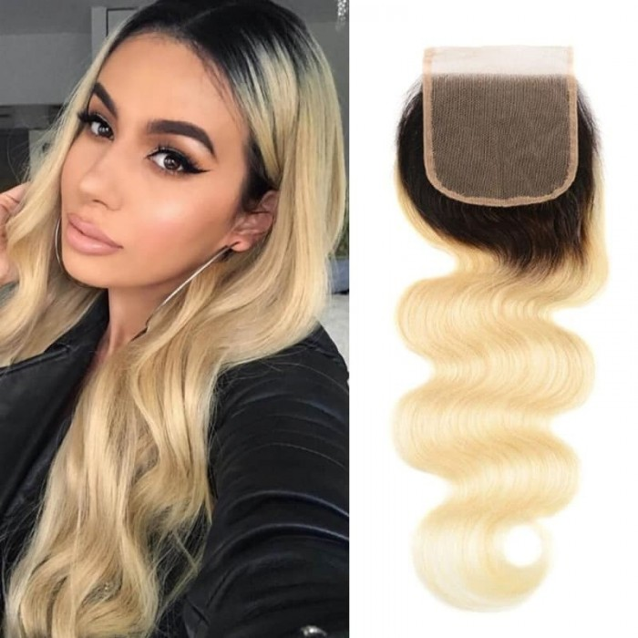 Incolorwig 4*4 Body Wave Human Hair Lace Closure New #T1B613 Blonde Brazilian Free Part